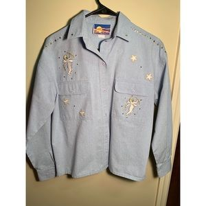 VINTAGE| Cricket By The Creek Chambray Angel Shirt